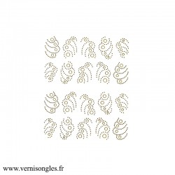 Autocollants stickers Camee or Camay doré pour ongles
