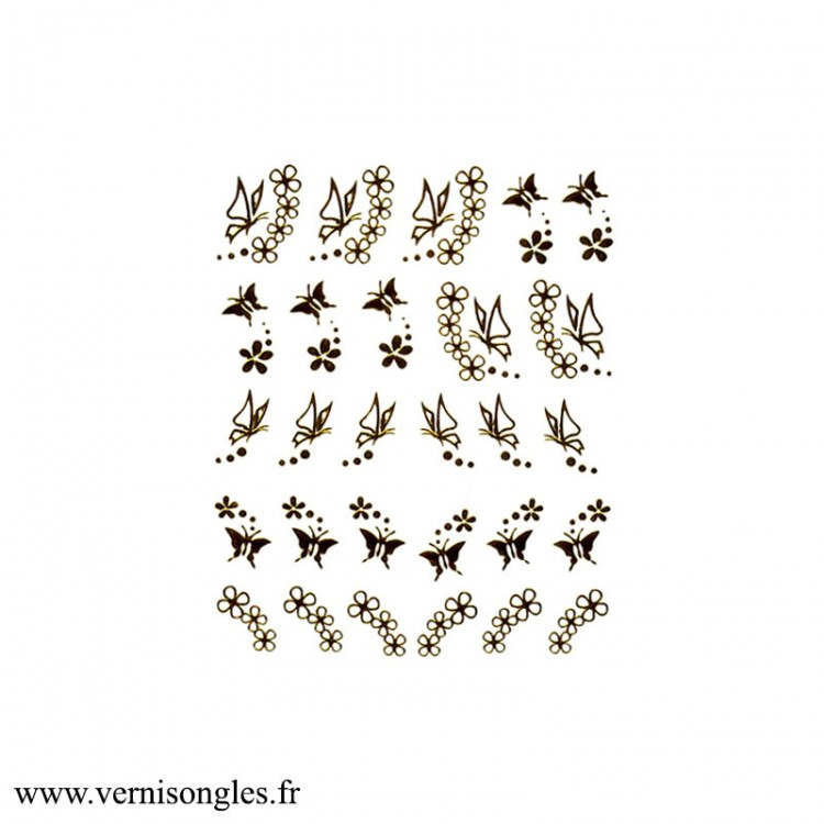 Water Decal pour ongles Fermeture Eclair Or