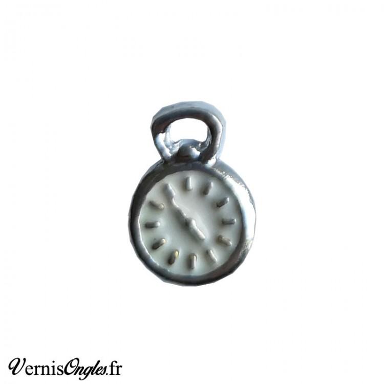 Bijou d'ongle montre à gousset argenté