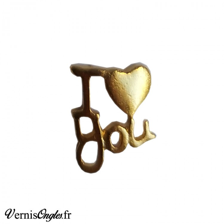 Bijou d'ongle doré I Love You