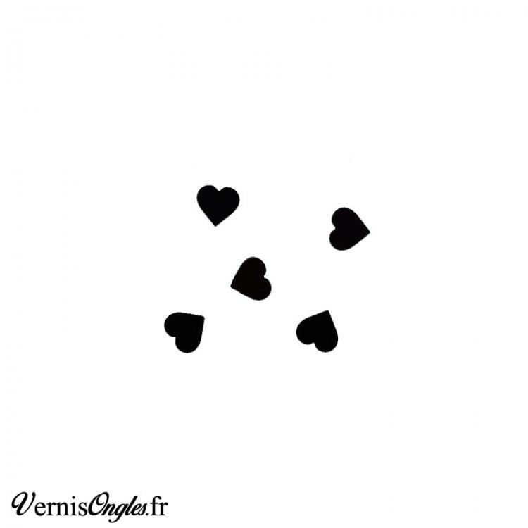 Paillettes en forme de cœurs noirs