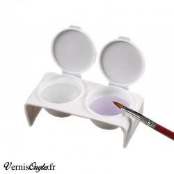 Godet double en plastique blanc