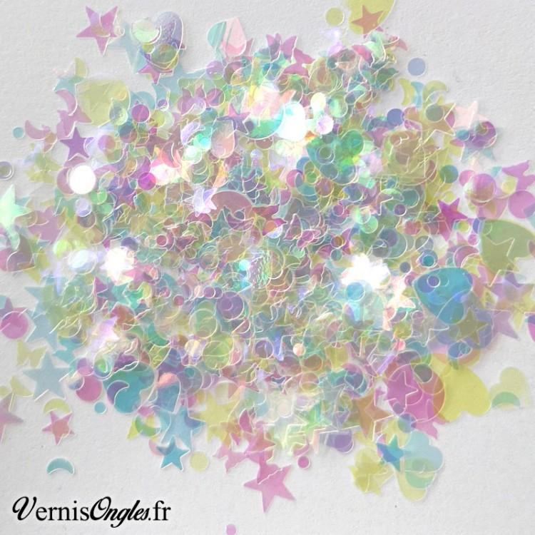 Paillettes mix formes iridescentes