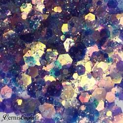 Paillettes hexagonales aux reflets sirène