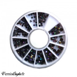 Strass noirs avec reflets pour les ongles