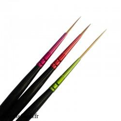 3 pinceaux longs et fins pour les ongles