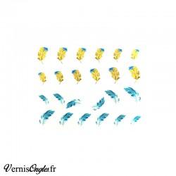 Water Decals plumes bleues et jaunes