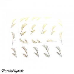 Autocollants plumes dorées et blanches pour les ongles