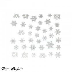 Autocollants pailletés argent flocons de neige