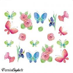 Water decals fleurs et papillons