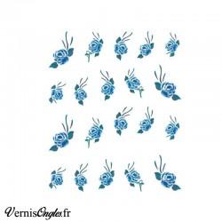 Water decals fleurs bleues