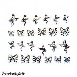Water decals noeuds papillons motif léopard