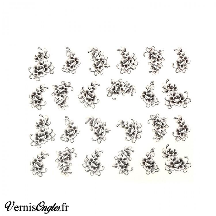 Water decals fleurs noires et blanches