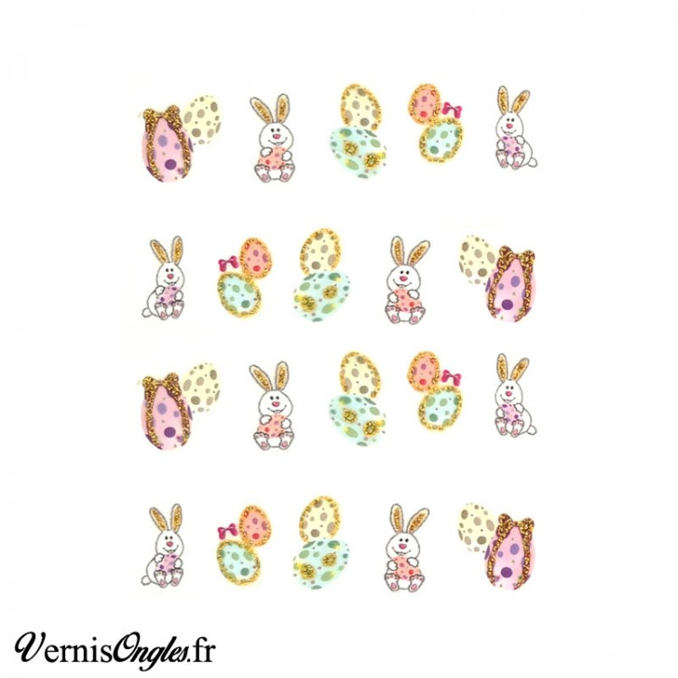 Water decals lapins et oeufs