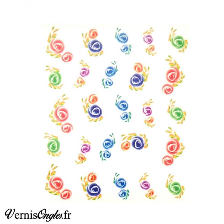 Water decals fleurs multicolores