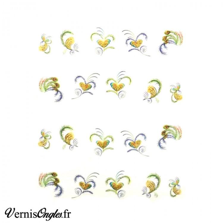 Water decals plumes de paon